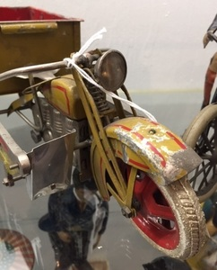 Japanese painted tin windup delivery motorcycle