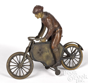 Lehmann lithograph tin wind-up Echo motorcycle