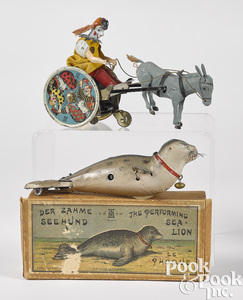 Two Lehmann wind-up tin toys
