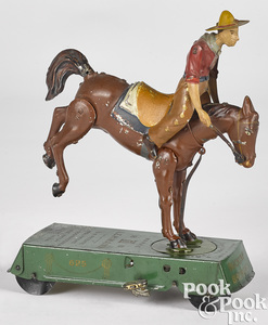 Lehmann painted tin Bucking Bronco