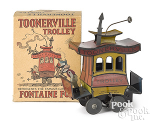 Lithograph tin wind-up Toonerville Trolley