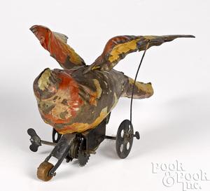 Gunthermann painted tin clockwork parrot