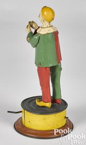 German tin mechanical hand crank dancing clown