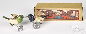 German painted tin clockwork fighting birds toy
