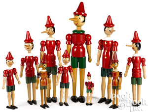Ten Italian painted wood Pinocchio dolls