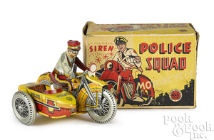 Marx tin lithograph wind-up Police Squad motorcycle