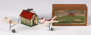 TN Japan tin and celluloid Kennel Frolics wind-up