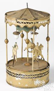 German painted tin clockwork merry-go-round