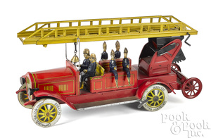 Distler lithograph clockwork fire ladder truck