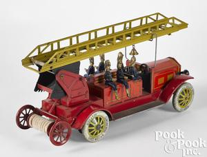 Distler lithograph clockwork fire ladder truck
