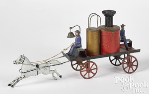 Early painted tin horse drawn fire pumper