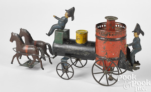 Fallows painted tin horse drawn fire pumper
