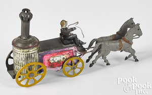 Charles Rossignol tin horse drawn fire pumper