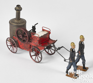 French painted tin hand drawn fire pumper