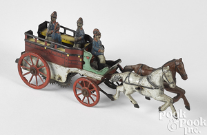 Orobr tin clockwork horse drawn fire patrol