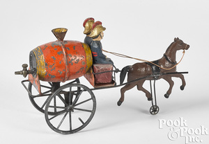 French painted tin horse drawn fire water wagon