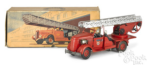 French VeBe tin clockwork fire ladder truck