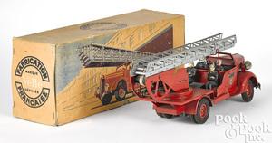 French VeBe tin clockwork fire ladder truck
