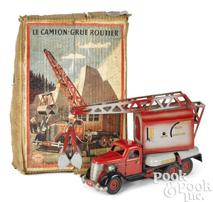 French Vebe tin wind-up crane truck
