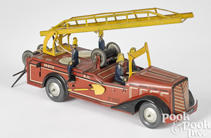 French Joustra clockwork fire ladder truck