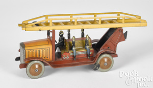 Jep tin lithograph clockwork fire ladder truck