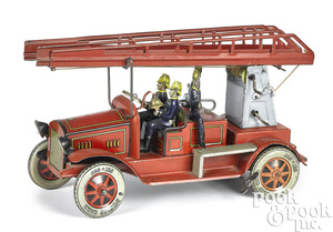 Tippco tin lithograph clockwork fire ladder truck