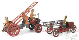 Tin lithograph fire ladder truck, etc.