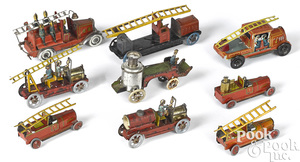 Nine tin lithograph fire related penny toys