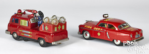 Two Cragstan battery-operated fire vehicles