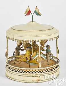 German painted tin carousel steam toy accessory