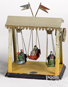 Doll & Cie painted tin swing steam toy accessory