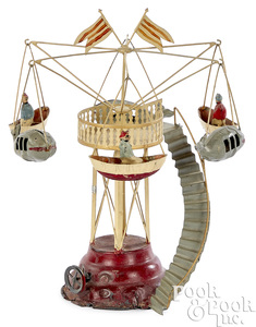 Carette painted tin carousel steam toy accessory