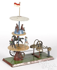 German two-tier painted tin steam toy carousel
