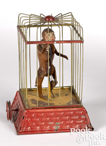 Dancing caged monkey steam toy accessory