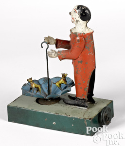 Becker clown with dogs in umbrella steam toy