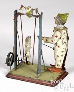 Zschopau School clown with dog steam toy accessory