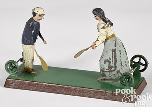 Becker painted tin lawn tennis steam toy accessory