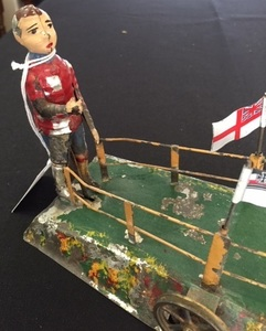 Painted tin soccer players steam toy accessory
