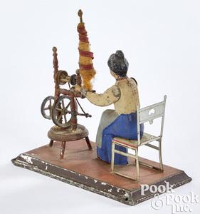 Gunthermann woman at spinning wheel steam toy