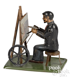 German painted tin artist steam toy accessory
