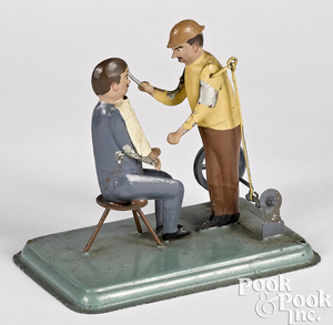 Painted tin barber steam toy accessory