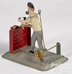 Becker painted tin mason steam toy accessory