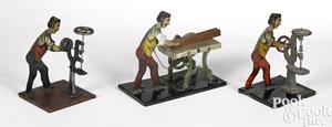 Three lithograph tin workmen steam toy accessories