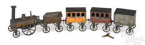 French painted tin clockwork floor train