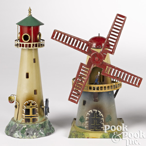 Two painted tin steam toy accessories