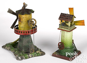Two windmill steam toy accessories
