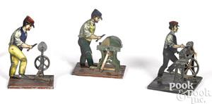 Three Carette workmen steam toy accessories