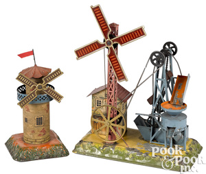 Two Bing windmill steam toy accessories