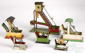 Six painted tin dredges steam toy accessories