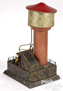 Carette lithographed tin water tower steam toy accessory